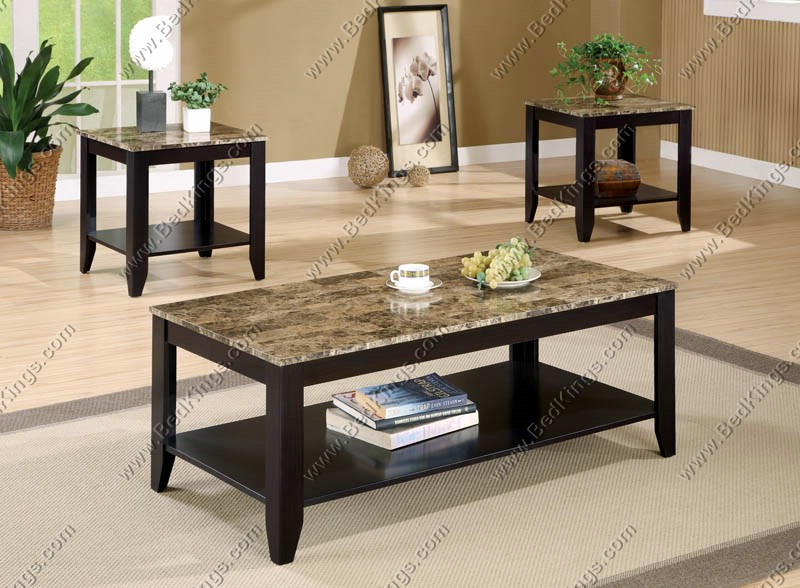 Occasional Table 3pc Set with Marble Like Top cs700155