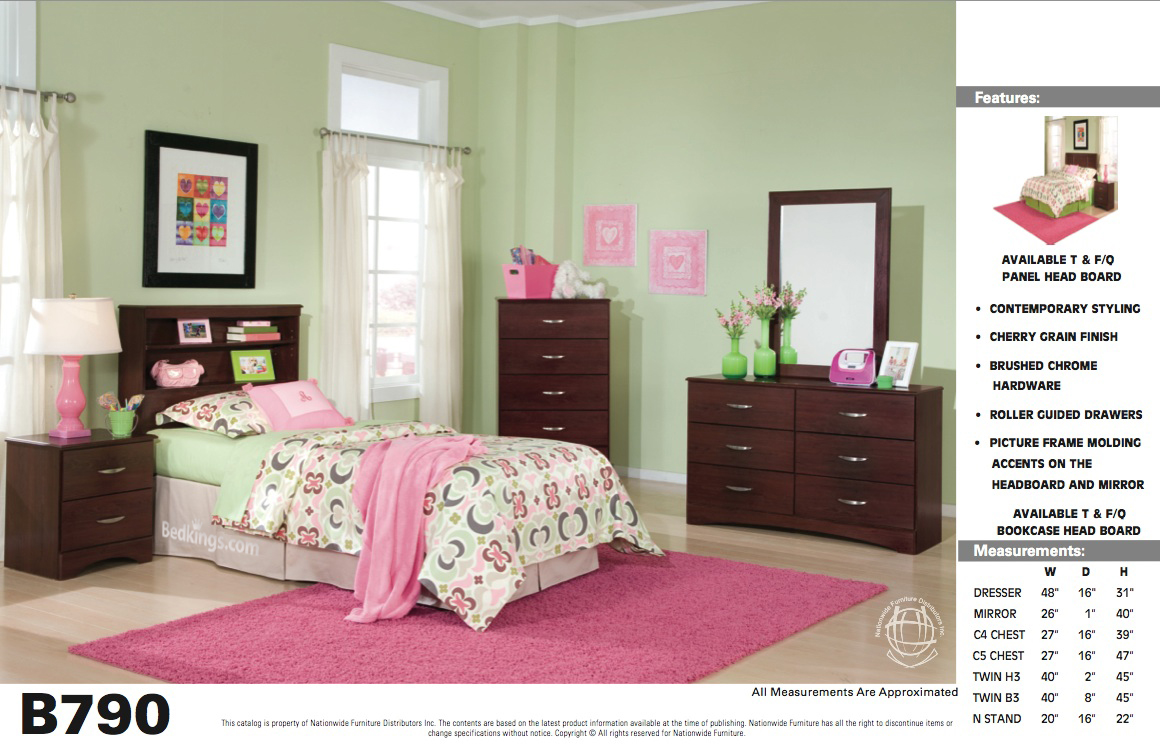 Carl Cherry Twin Bookcase Headboard Na B790B3