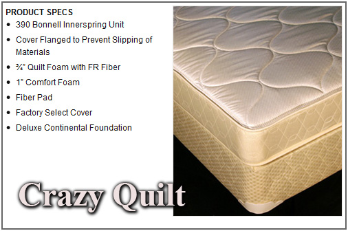 Crazy Quilt Twin Size Mattress and Boxspring Set - 610-1ST