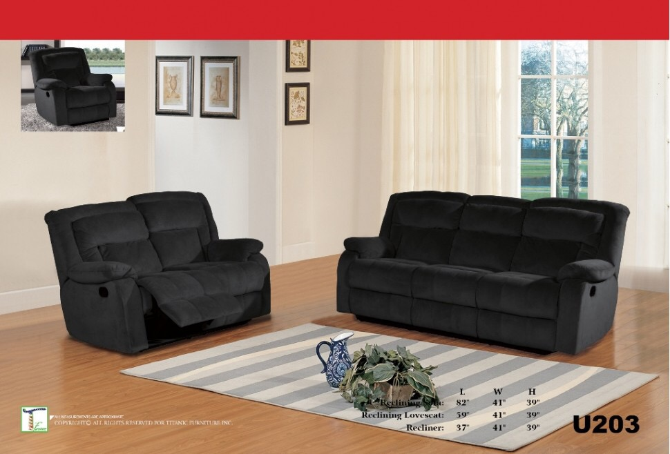 Barron Charcoal Reclining Loveseat Ti U203L