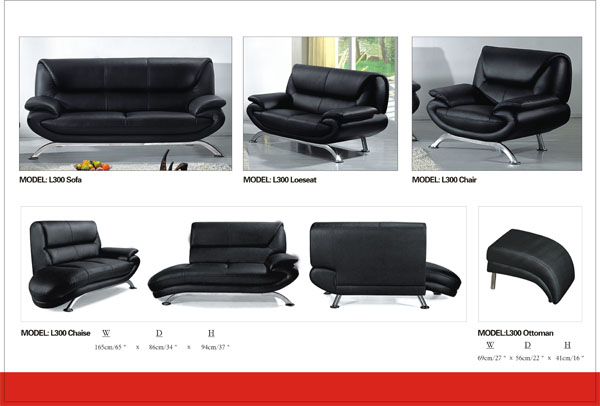 Modern Black with Steel Legs Chaise Ti L300CH