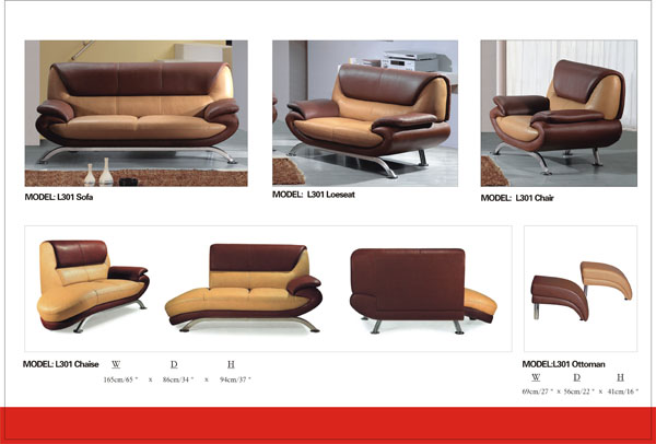Modern Brown & Tan Chaise with Steel Ti L301CH