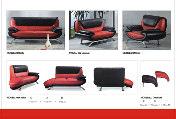 Modern Red & Black Chaise with Steel Ti L302CH