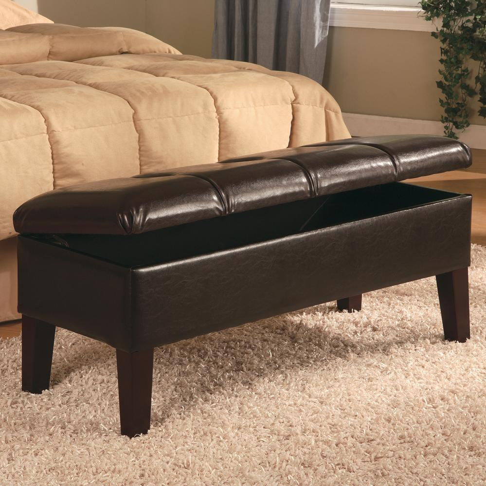Lewis Button Tufting Brown Bench cs300358B