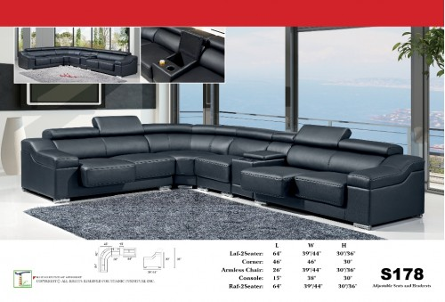 Phrase-ology Black 5pc Sectional Sofa Ti S178