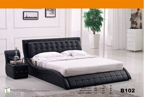 Smooth Design Black Queen Bed Ti B102QB
