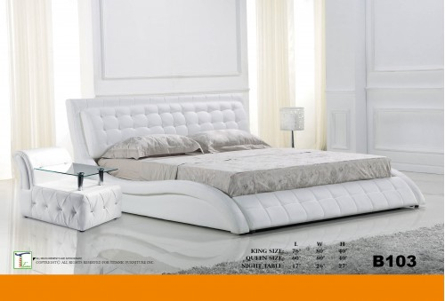 Smooth Design White Queen Bed Ti B103QB