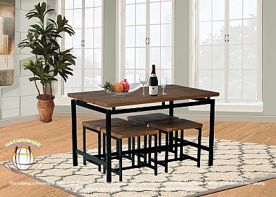 Woodgrain Table with Stools 5pc Dinette Set Na D950-5DSet