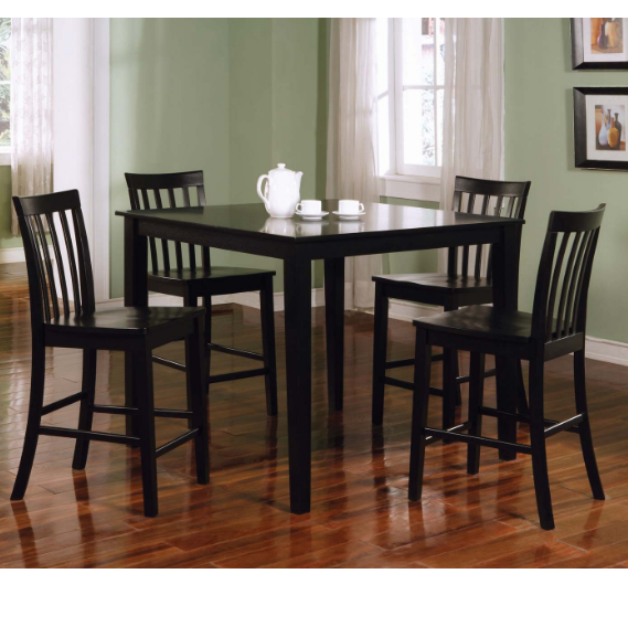 Jet Black 5pc Glass Top Dining Set cs150231