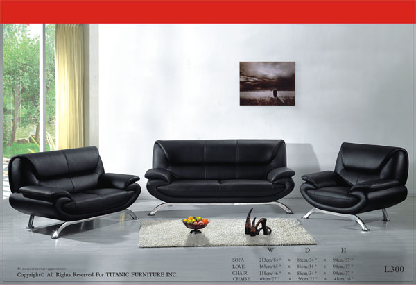 Modern Black with Steel Legs Loveseat Ti L300L
