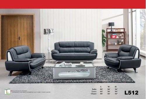 Century Black Collection 3pc Set (Sofa+Love+Chair) Ti L512-3