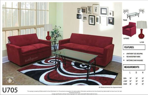 Royal Red Microfiber 2pc Set (Sofa+Love) Na U705-2SL