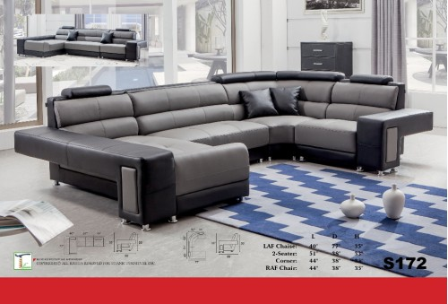 Envy Black & Grey 4pc Sectional Sofa Ti S172-4