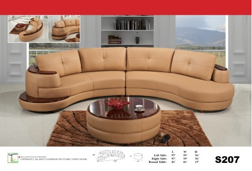 Beige Chaise 2pc Sectional Sofa Ti S207