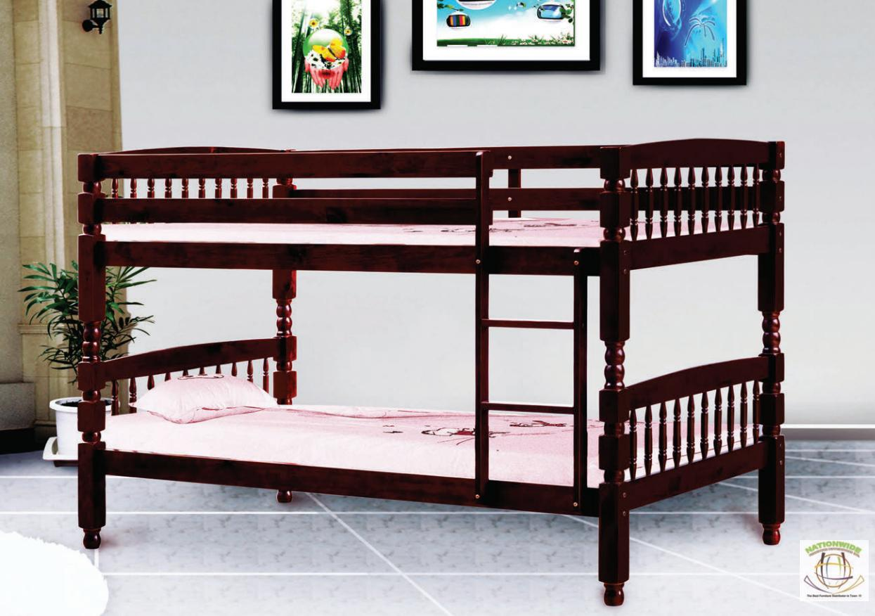Convertible Walnut Bunk Bed Na S370