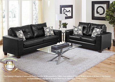 Delaney Black 2pc Set (Sofa+Love) Na U455-2