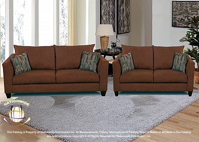 Velvet Mocha 2pc Set (Sofa+Love) Na U505-2