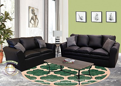 Salisbury Black 2pc Set (Sofa+Love) Na U510-2