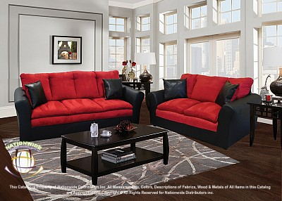 Salisbury Red 2pc Set (Sofa+Love) Na U519-2